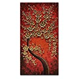 Okbonn Vertical Art Red and Gold Flowers Artwork Hand Painted Paintings Modern Oil Painting on Canvas Stretched and Framed Wall Art Canvas for Living Room Bedroom Office Wall Decor(20X40 inch)