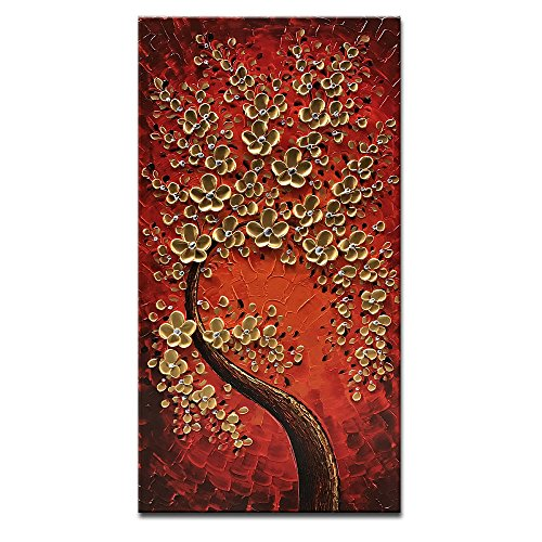 Okbonn Vertical Art Red and Gold Flowers Artwork Hand Painted Paintings Modern Oil Painting on Canvas Stretched and Framed Wall Art Canvas for Living Room Bedroom Office Wall Decor(20X40 inch) by Okbonn