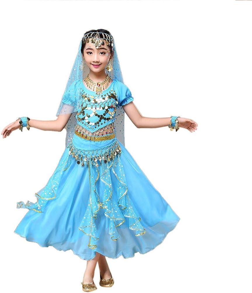 PinkLu Traje De Danza del Vientre para NiñOs Traje De Traje De Danza del Vientre para NiñAs De Los NiñOs Ropa De Baile De La India Top + Falda