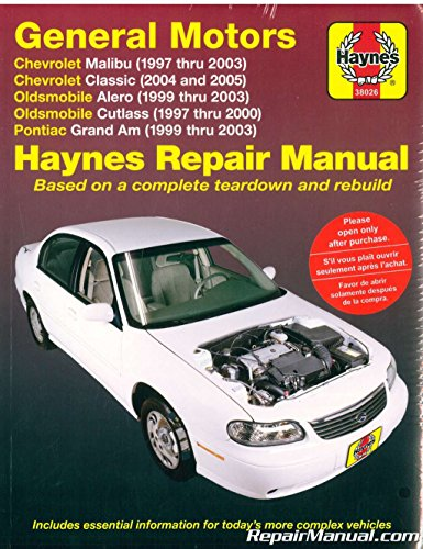 H38026 Haynes GM Chevrolet Malibu Oldsmobile Alero Cutlass and Pontiac Grand AM 1997-2003 Auto Repair Manual