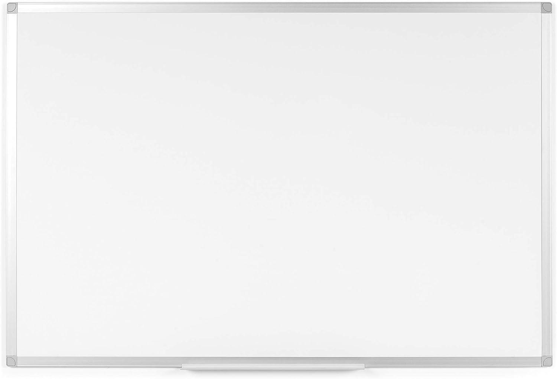 BoardsPlus - Pizarra blanca magnética con marco de aluminio y bandeja, 120 x 90 cm