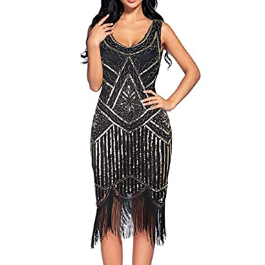 e10a2856ac HEHEM Evening Dress Sexy Women Vintage 1920s Sequin Beaded Tassels Party  Night Hem Flapper Gown Dress  Amazon.co.uk  Clothing