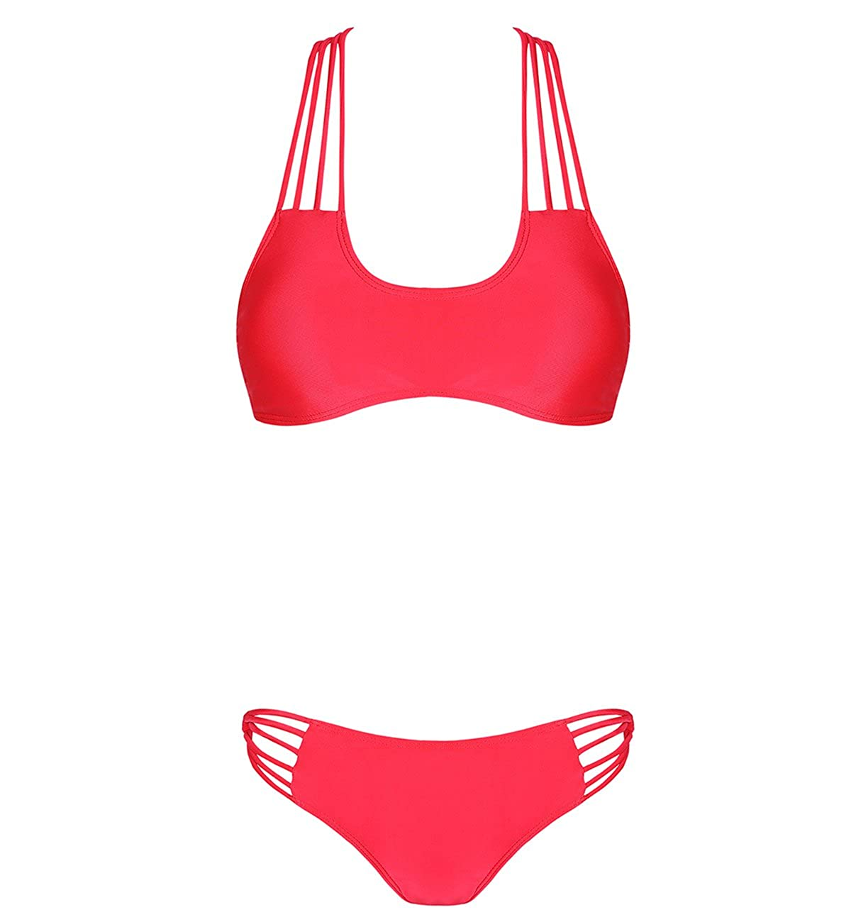 DD&MM Cross Back Halter Bikini Swimsuits for Women Red L FB261REDL