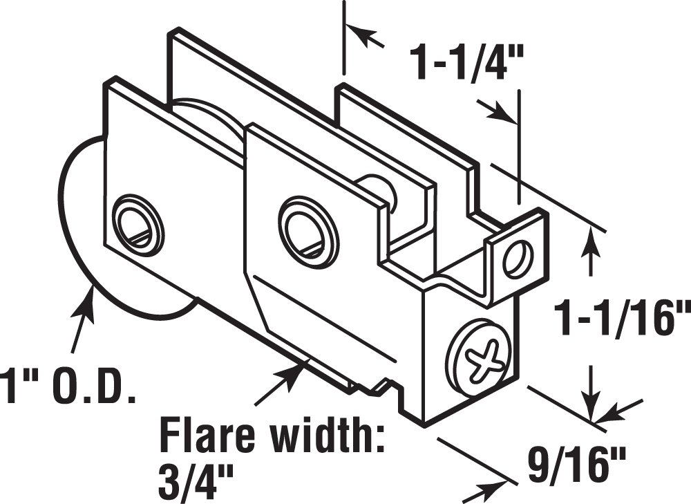 Prime-Line Products D 1753 Sliding Door Roller Assembly with 1-Inch Steel Ball Bearing by Prime-Line (Image #2)