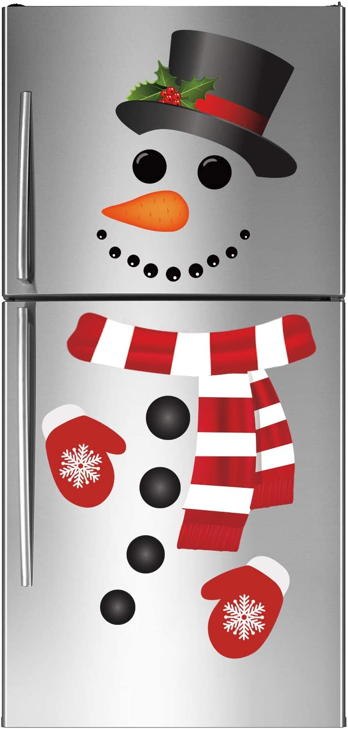 Joy Bang Christmas Refrigerator Stickers Christmas Snowman Refrigerator Decorations Snowman Stickers for Christmas Xmas Window Wall Door Decor
