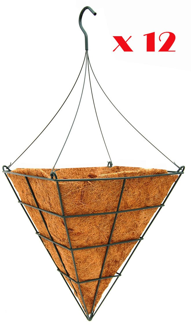 14'' Square Cone Shaped Grower Hanging Basket with Liner and Rigid Hanger - Growers Pack of 12 Sets by Topiary Art Works