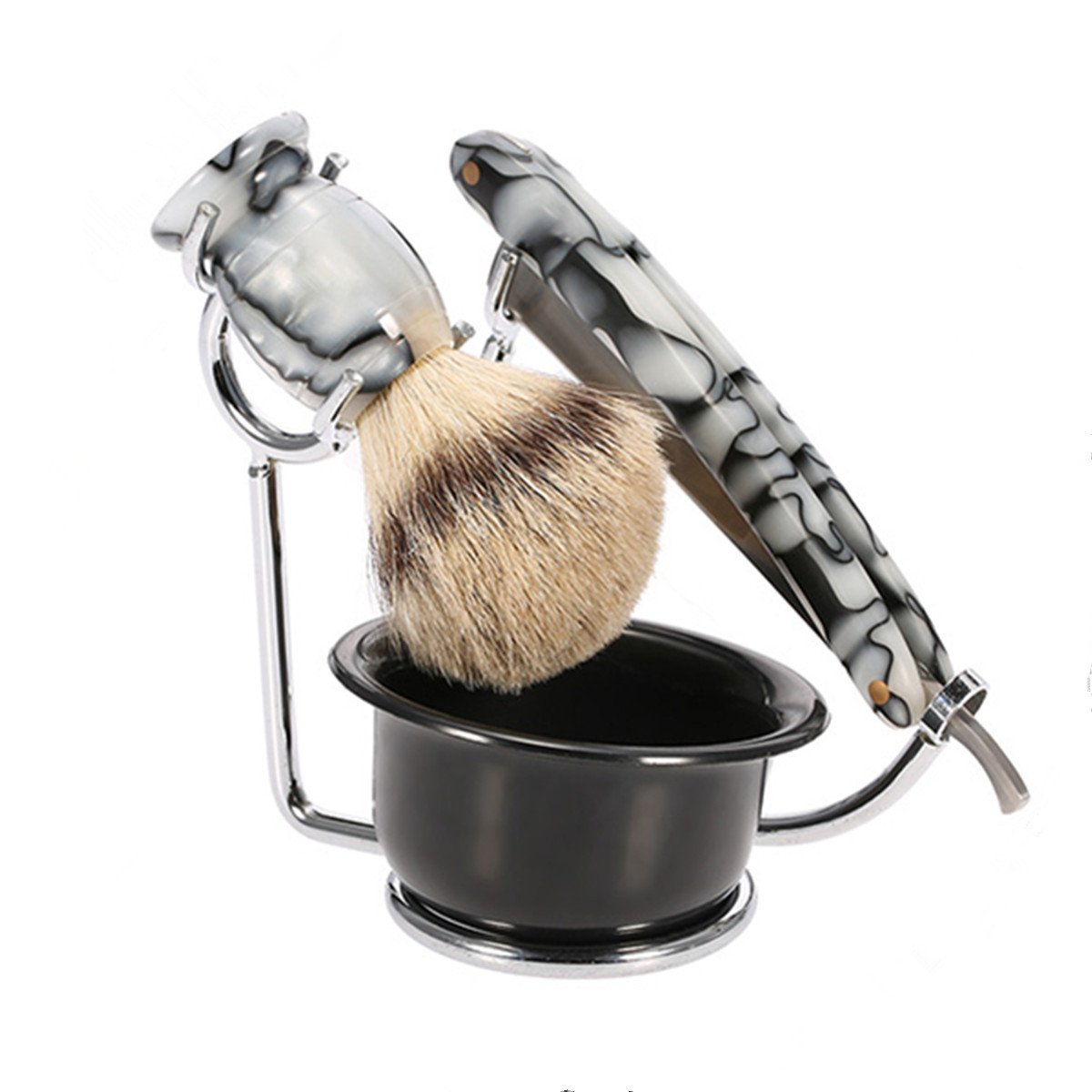 Anself 4 in 1 Men's Shaving Razor Set Pure Badger Shaving Brush + Stainless Steel Shaving Stand + Shaving Soap Bowl + Razor W3908-HMMFBA