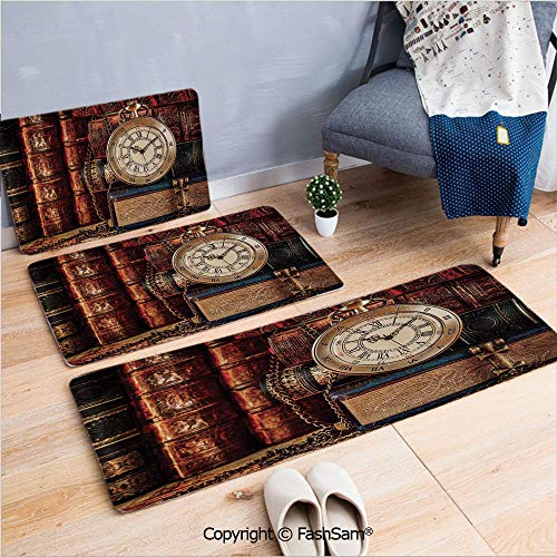 (FashSam 3 Piece Flannel Bath Carpet Non Slip Nostalgic Classic Pocket Watch on The Background of Old Books Dated Archive Photo Front Door Mats Rugs for Home(W15.7xL23.6 by W19.6xL31.5 by W31.4xL47.2))