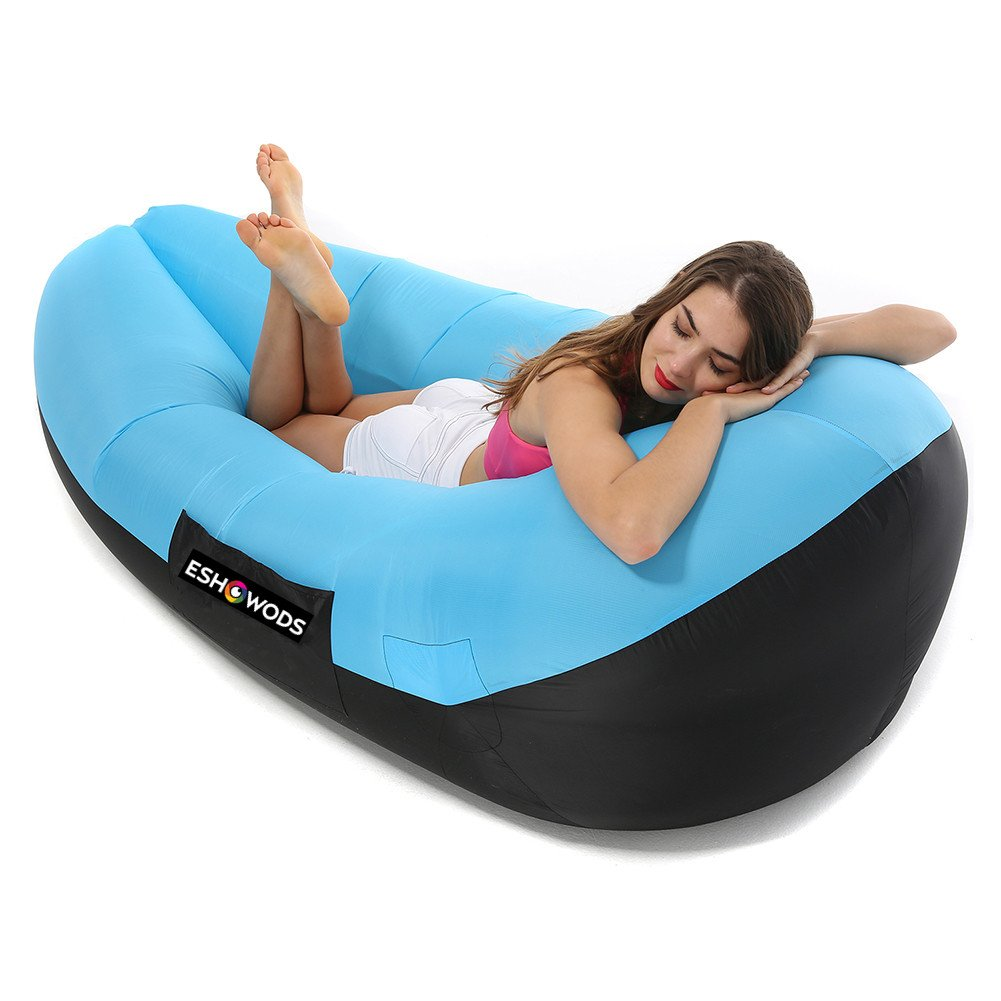 ESHOWODS Inflatable Air Bed Air Lounger Lazy Sofa for Indoor and Outdoor Beach, Camping, Hiking, Swimming Pool (Blue)