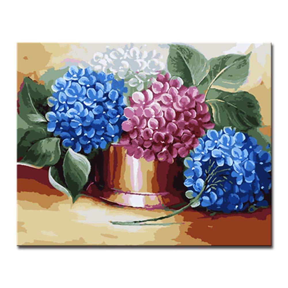 mejor precio 40x50cm Diy Frame NGDDXTG DIY Pintura Digital por por por Números Flor de Hortensia Arte de la Parojo Lienzo para Marco de Decoración del Hogar  muchas sorpresas