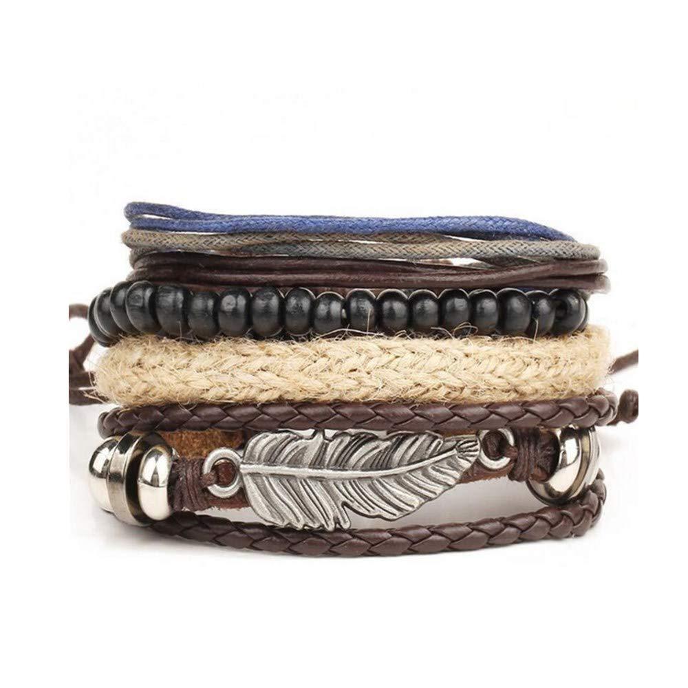 Frunalte bracelet, Women's Bracelets Men's Braided Leather Stainless Steel Cuff Bangle Wristband