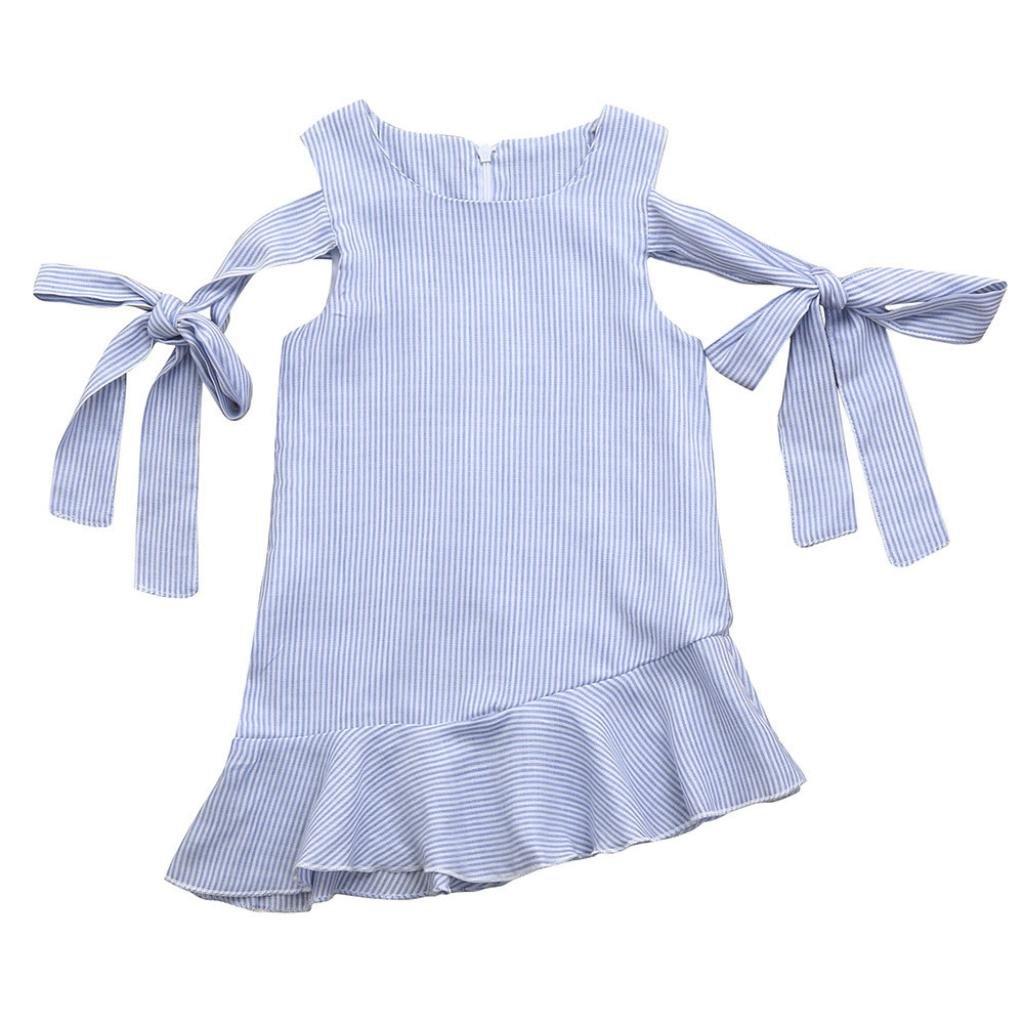 046c0dda1554 Amazon.com: Dinlong Toddler Kids Baby Girls Clothes Casual Party Dress  Sleeveless Bandage Zipper Striped Strap Sundress Princess: Clothing
