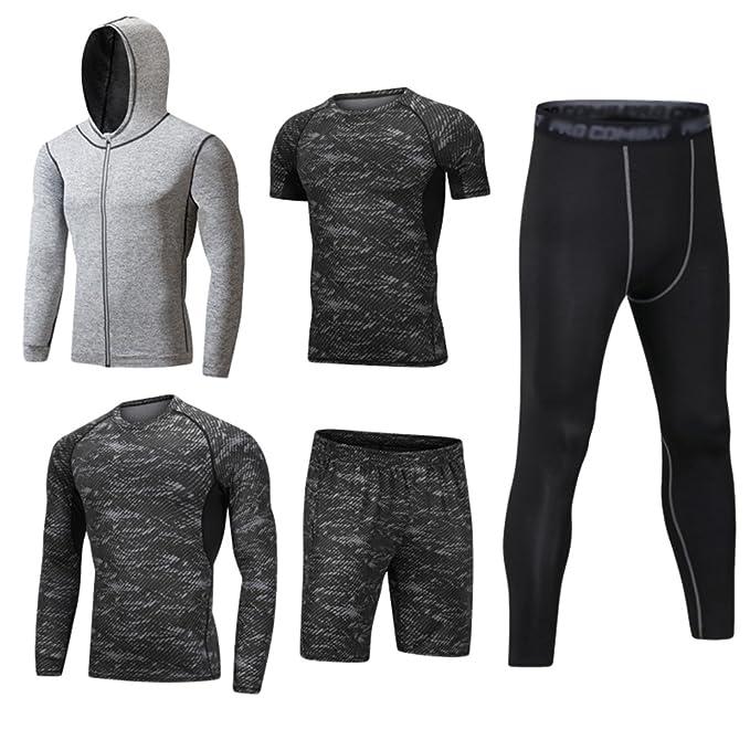 Dooxii Homme 5 Pièces Vêtements de Sport avec Hoodies Vestes Manches Courtes Manches Longues Shirt Compression Collant Short Séchage Rapide Workout Ensemble de Fitness Tenuede Sportswear