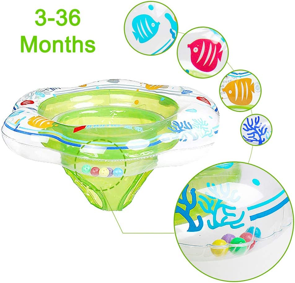 JCREN Baby Pool Float Ring, Baby Swimming Float Safety Inflatable Floats Ring with Safely Seat Double Airbag Swim Bath Water Toys Beach for Swim Training Kids Toddler Baby Baby of 3-36 Months (Green)