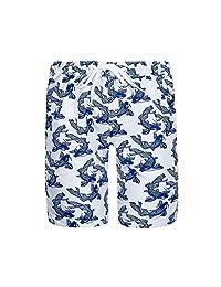Sun Emporium Baby Boys Navy White Koi Fish Sun Protective Board Shorts 6-18M