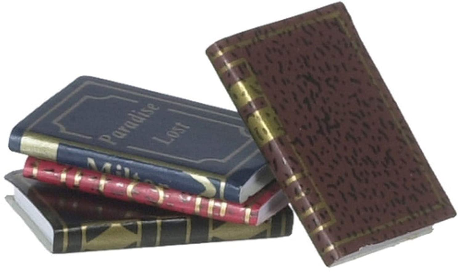 Dollhouse Miniature Set of 4 Gold Embossed Books