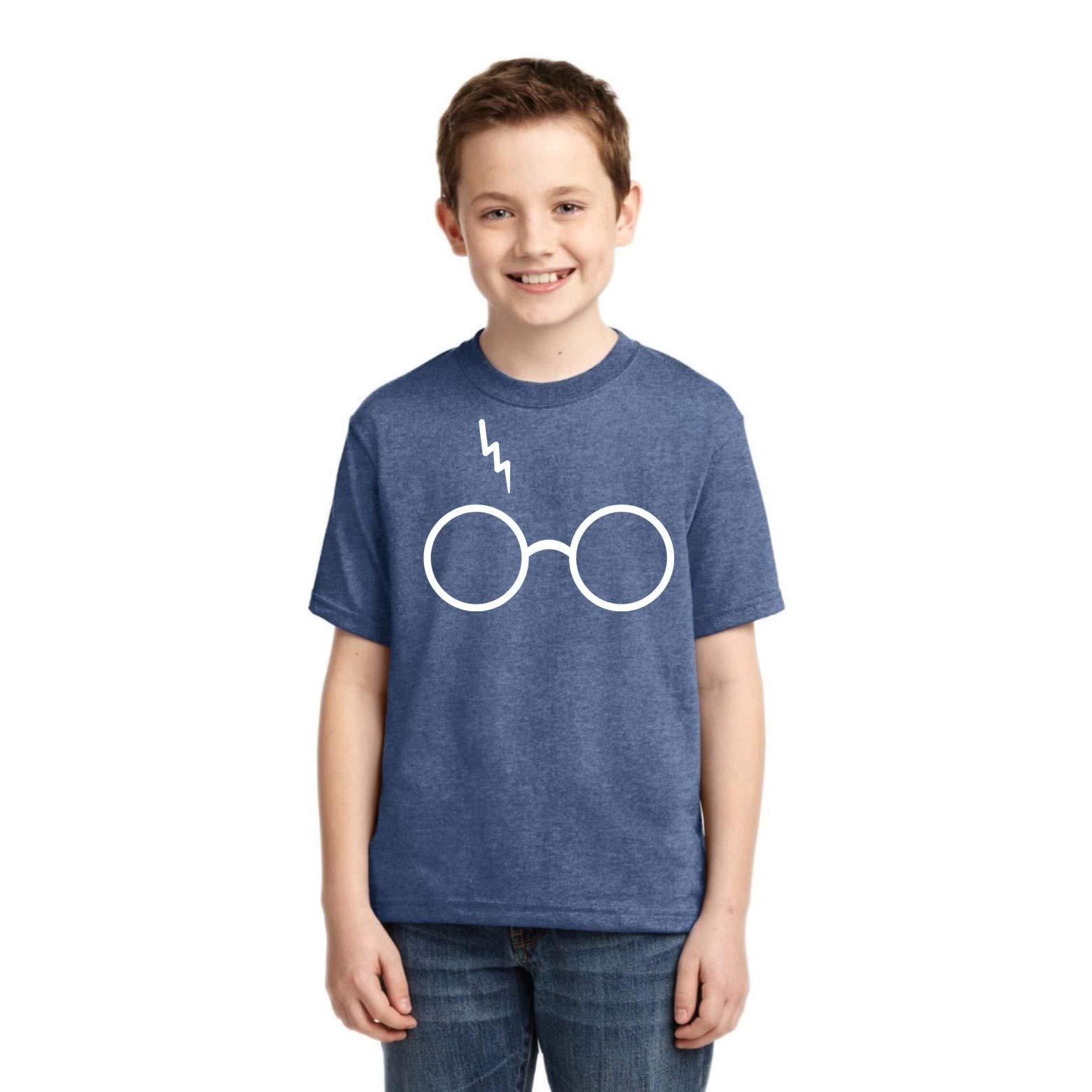 Wild Bobby Harry Potter Fan Glasses Scar   Boys Pop Culture Graphic T-Shirt, Vintage Heather Blue, Large