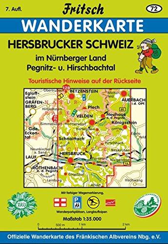 Fritsch Karten, Nr.72, Hersbrucker Alb in der Frankenalb, Pegnitz- und Hirschbachtal (Fritsch Wanderkarten 1:35000)