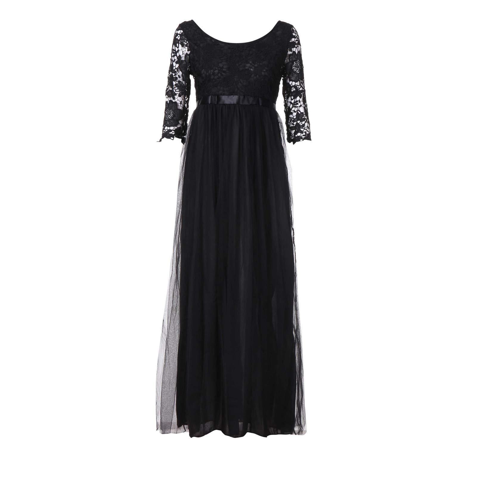 Littleice Women Chiffon Lace Bridesmaid Long Maxi Dress Evening Prom Gown Lace Dresses (Black, XL)