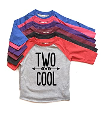 Amazon Two Cool Second Birthday Shirt Toddler Boy Raglan Tshirt 2nd Bday Kids Trendy 2 Tee Heads Up Shirts Clothing