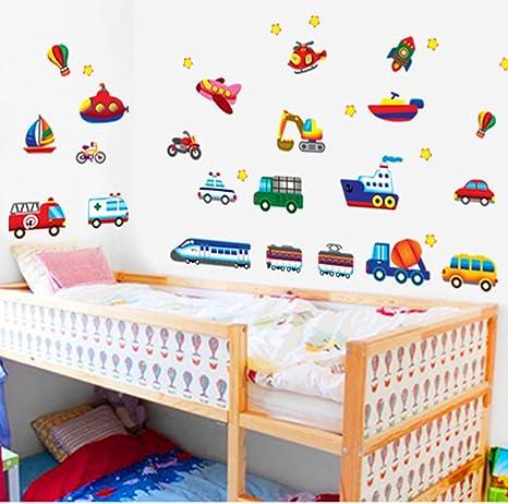Kinder Zug Auto Hubschrauber Wandtattoos Wandaufkleber Wandsticker Fur Kinderzimmer Dekoration Diy Amazon De Kuche Haushalt