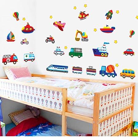 Kinder Zug Auto Hubschrauber Wandtattoos Wandaufkleber Wandsticker für Kinderzimmer Dekoration DIY