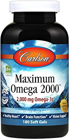Carlson - Maximum Omega 2000, 2000 mg Omega-3 Fatty Acids Including EPA and DHA, Wild-Caught, Norwegian Fish Oil Supplement, Sustainably Sourced Fish Oil Capsules, Lemon, 180 Softgels