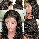 Fushen Hair 360 Lace Frontal Wigs Curly Full Lace Front Wigs 180% 8A Virgin Brazilian Curly 360 Lace Human Hair Wigs for Black Women(16 inch with 180 density, 360 lace wig)