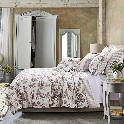 3 Piece King, Romantic Style Classic Toile Pattern Quilt Set, Traditional French Country Elegance Design, Rustic Old World Imaginary Themed, Stripe Reversible Bedding, Adorable Brown, White Color by AF ULTRA