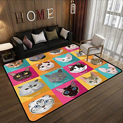 Floor mat,Cat Lover Decor Collection,Popular Breeds of Cats Abyssinian Burmese Sphynx Norwegian Forest,Turquoise Yellow Pink Brown 78.7
