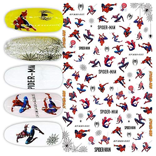 1 Sheet Mix Spider Man Marvel Movie Signs Cartoon 3D Nail Art Self Adhesive Decals Stickers Applique Set DIY Resin, Scrapbooking, Design