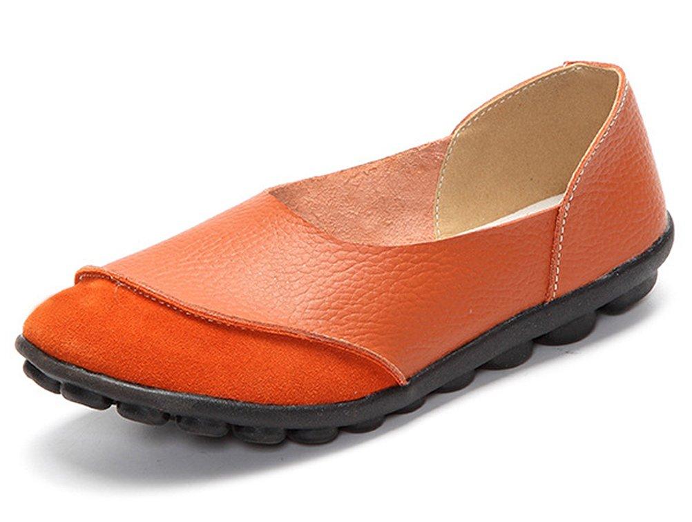 CCZZ Moccasin Femme Cuir CCZZ Loafers Casuel Bateau Chaussures Femme de de Flats Orange-1 6077dab - reprogrammed.space