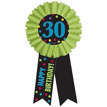 NET TOYS Cinta Roseta Aniversario 14 cm Broche cumpleaños 30 ...