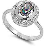 Sterling Silver Cubic Zirconia Ring with Oval Rainbow Multicolor CZ & Clear CZ