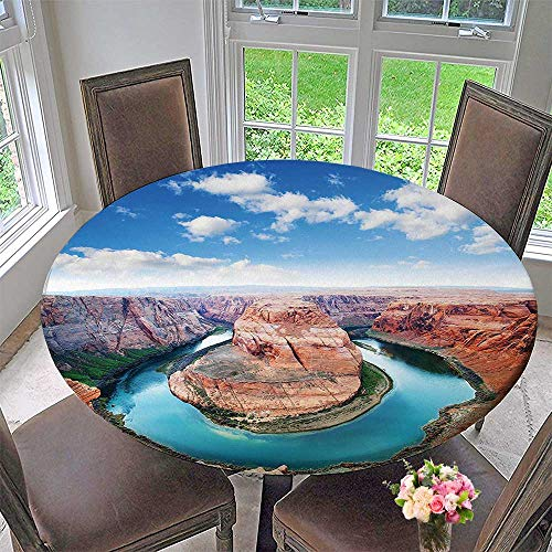 Mikihome Round Premium Table Cloth Shoe Bend North Rim Grand Canyon Page Arizona Famous Tourist Attractions Sandy Brown Perfect for Indoor, Outdoor 50