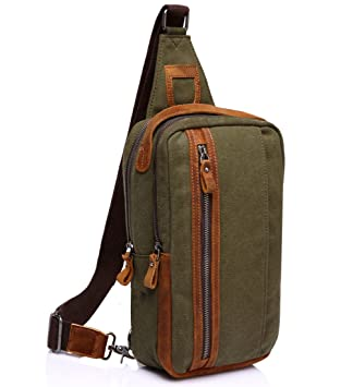 Vaschy Sling Bag Leather Canvas Multipurpose Daypack Chest Bag Messenger Bag  Outdoor Travel Military Messenger Chest Bag-Army Green  Amazon.co.uk   Luggage 0887a2f4bab31