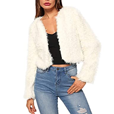 Amazon.com: Mlide Womens Elegant Plush Jacket White ...