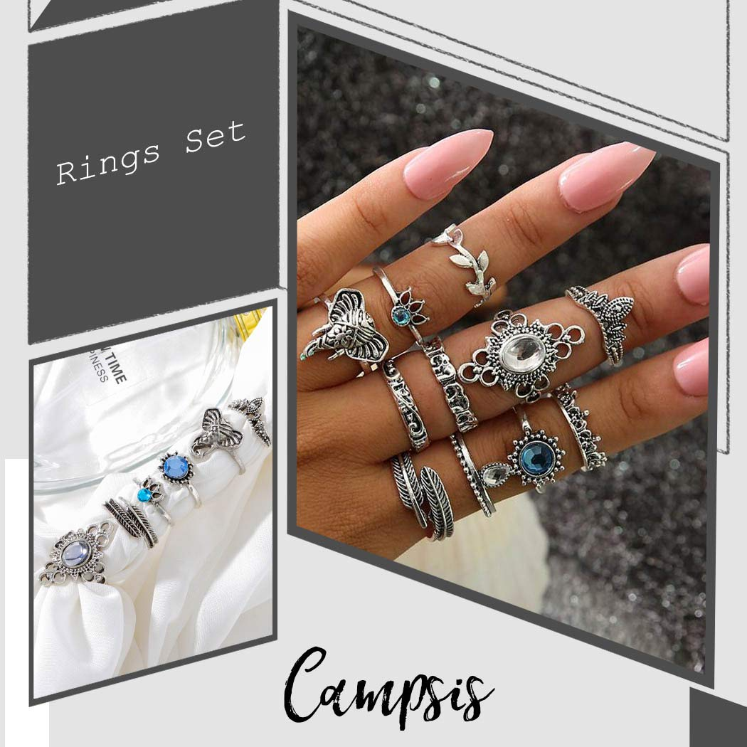 Campsis 12PCS Boho Women Ring Sets Knuckle Stacking Multi Size Rings Elephant Mid Ring for Women and Girls
