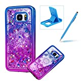 Liquid Clear Case for Samsung Galaxy S7 Edge,Glitter TPU Cover for Samsung Galaxy S7 Edge,Herzzer Luxury [Pretty Flower Pattern] Soft Flexible with Electroplated Frame Flowing Sparkle Love Heart Star Crystal Back Case