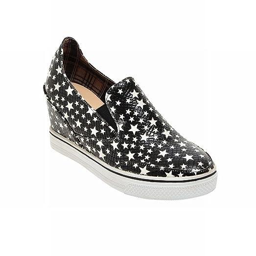 Women's Fashion Star Print Platform Slip on Skate Shoes Wedge Shoes Comfort Shoes