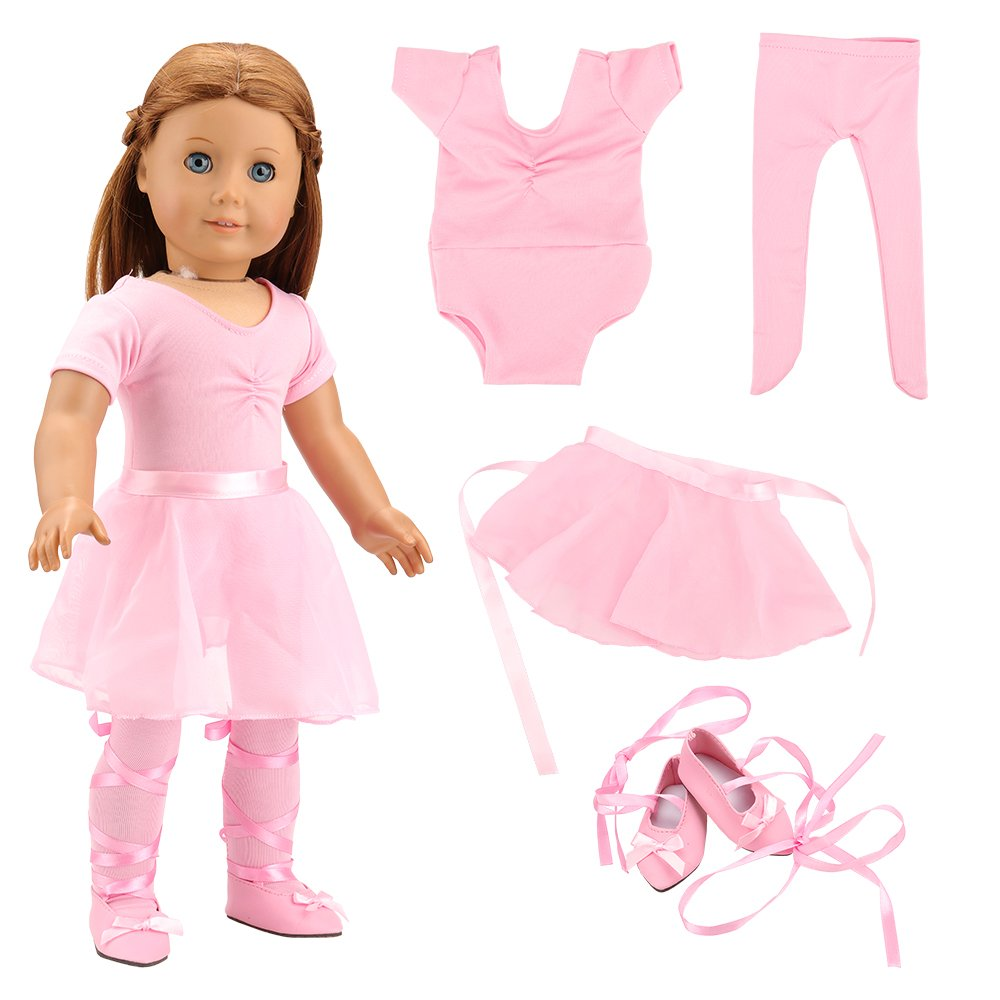Barwa 18 Inch Doll Clothes Ballet Ballerina Outfits Dance Dress Custume for American Girl Dolls 18 inch Dolls - 4 PCS Pink Leotard with Tutu Skirt, Tights and Ballet Shoes