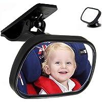 RabbitStorm - Espejo Retrovisor para Asiento de Bebé, a Prueba de Golpes Vidrio Acrílico Inastillable - 360° Ajustable Accesorios para Autos -Negro