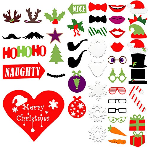 50pcs Christmas Photo Booth Props, Creative Christmas Party Favors & Supplies with Glasses, Moustache, Red Lips, Deer, Santa Hat, - Photo Printable For Booth Glasses