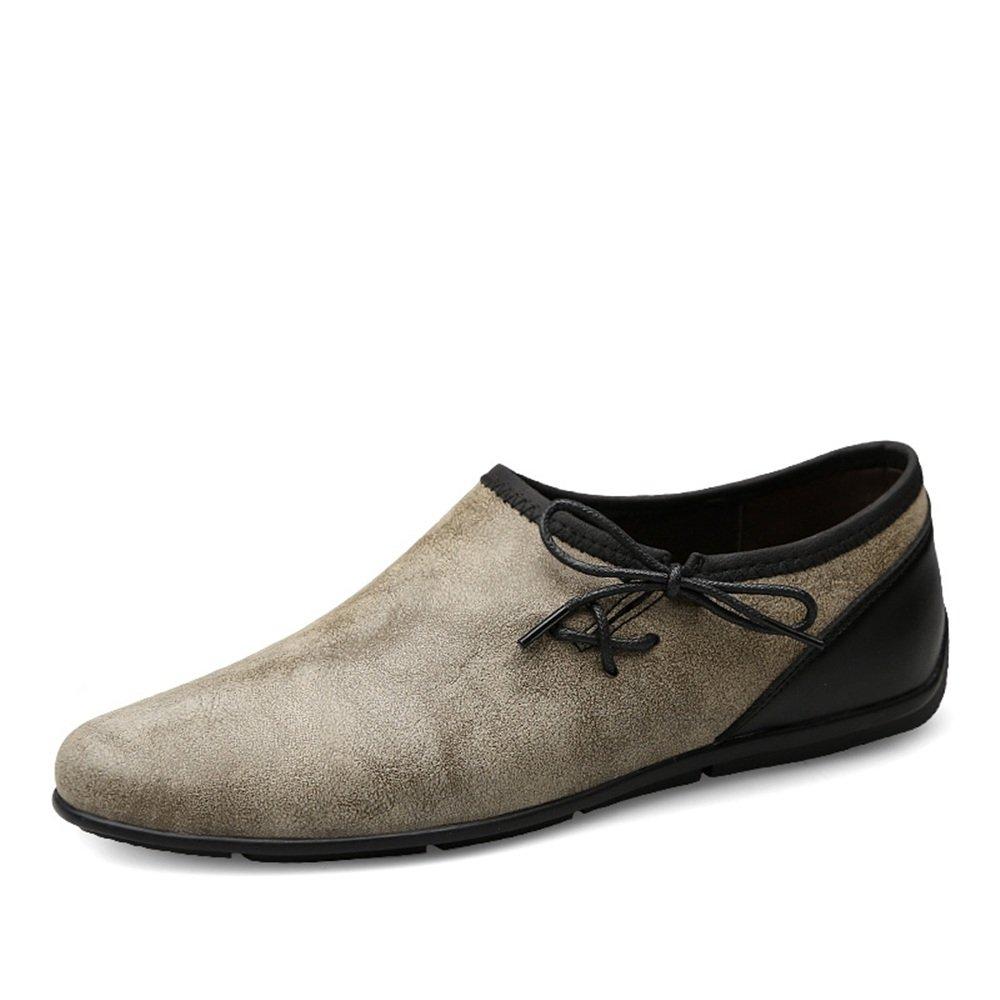 Hombre Drive Mocasines Moda Casual Trend Pequeños Zapatos sucios Restaurar Maneras Antiguas Mocasines de Barcos Suaves 45 EU|Caqui