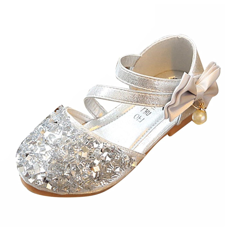 Amur Leopard Kids Girls Mary Jane Shoes Diamonds Bowknot Dance Wedding Princess Shoes(Toddler/Little Kid) Silver 13.5M US Little Kid