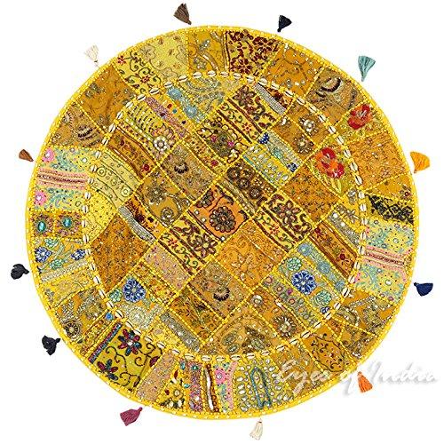 Eyes of India - 40  Giallo rossoondo Coloreato Pavimento Decorativo Federa Copricuscino Meditazione Seduta Copriletto Boho Indiano Bohémien Copertura - Giallo  9