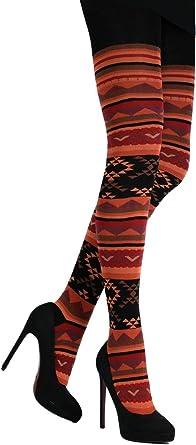 CRÖNERT Mujer Leotardos Geometría/azteca Naranja Naranja naranja-rojo: Amazon.es: Ropa y accesorios