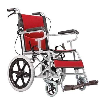 Silla de ruedas Aluminio, Manual, Viaje De Tránsito Plegable, Pedales Ajustables (Color : Red): Amazon.es: Hogar