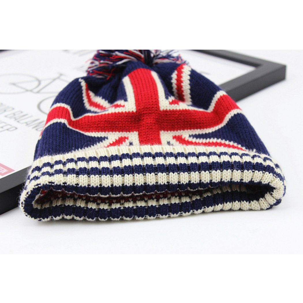 Raylans Women Men Crochet Knitted Ball Stripe Stars Winter Warm Beanie Hat Ski Cap,British Flag by Raylans (Image #2)