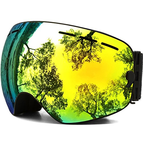 Womens Ski Goggles, Tuonroad OTG Anti Fog Skiing Snow Snowboard Goggles Frameless Glasses for Youth Kids Boys Girls Outdoor Sports Gold